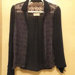 Navy Abercrombie blouse with sheer embroidary